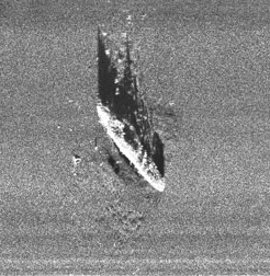Side-scan sonar image of Robert E. Lee collected by AUV.